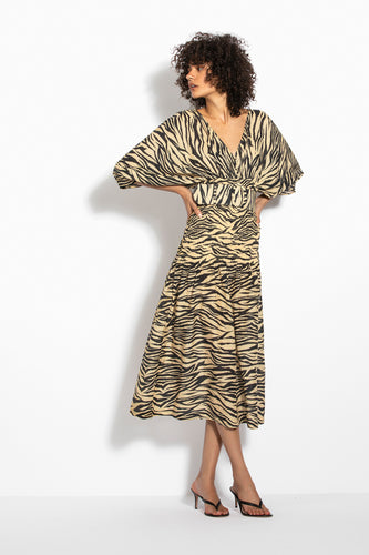 Smocked Panel Dress - Zebra