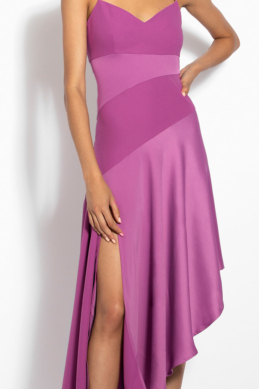 Blocked Slip Dress - Berry