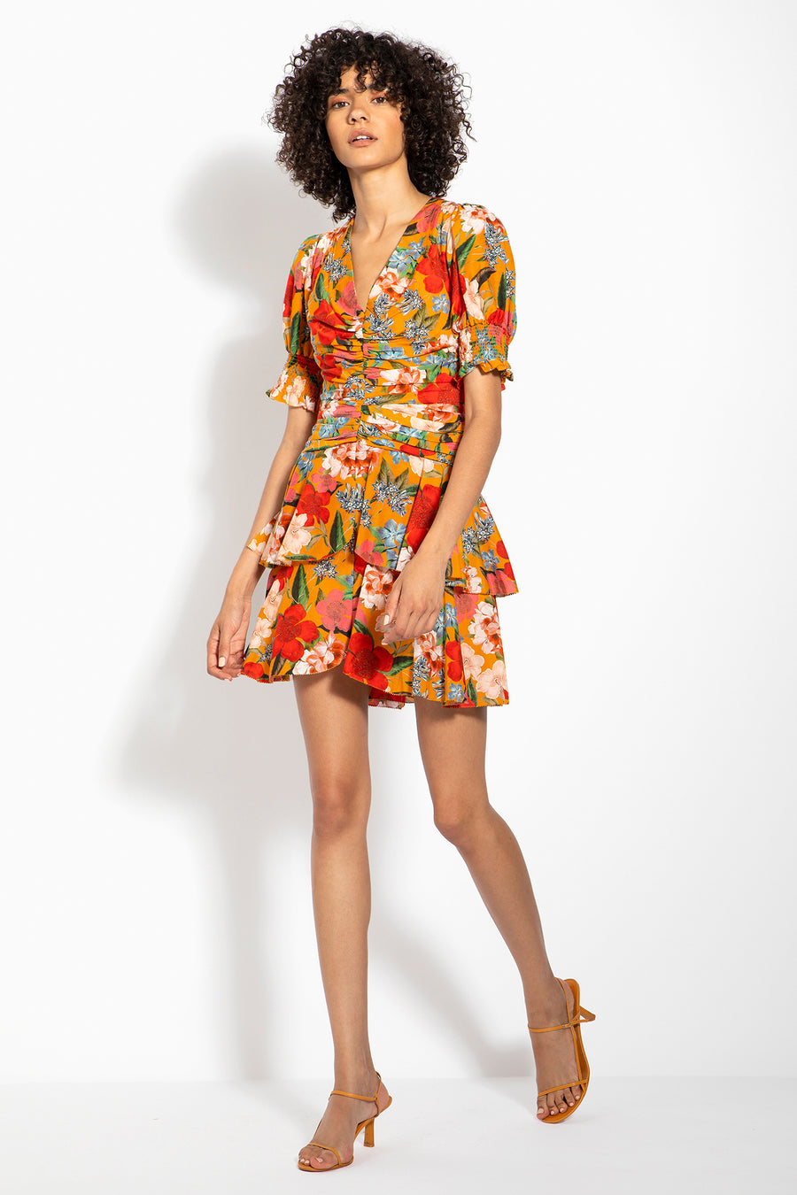 Puff Sleeve Pintuck Dress - Tangerine Multi