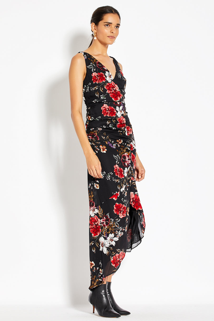 Drape Front Dress - Garnet Multi