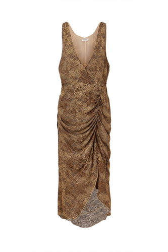 DRAPE FRONT DRESS - TAN MULTI