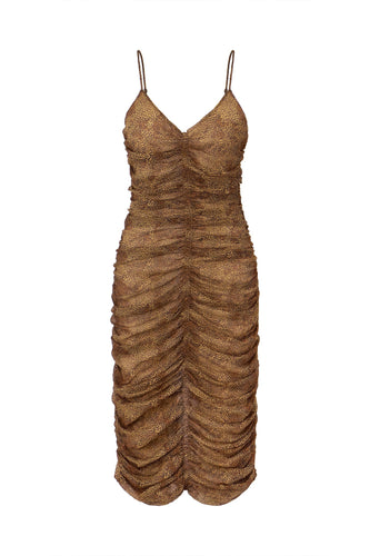 Gathered Slip Dress - Tan Multi