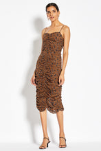 Gathered Slip Dress - Light Tobacco Leopard