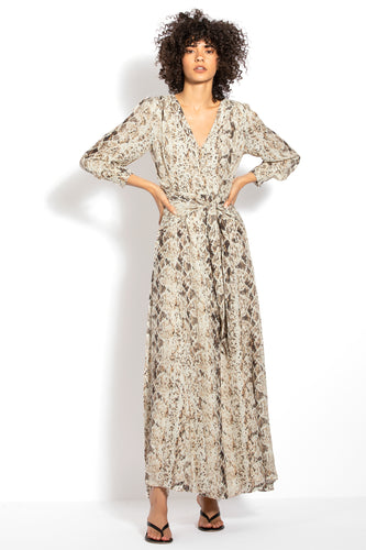 Tie Front Maxi Shirtdress - Brown Multi