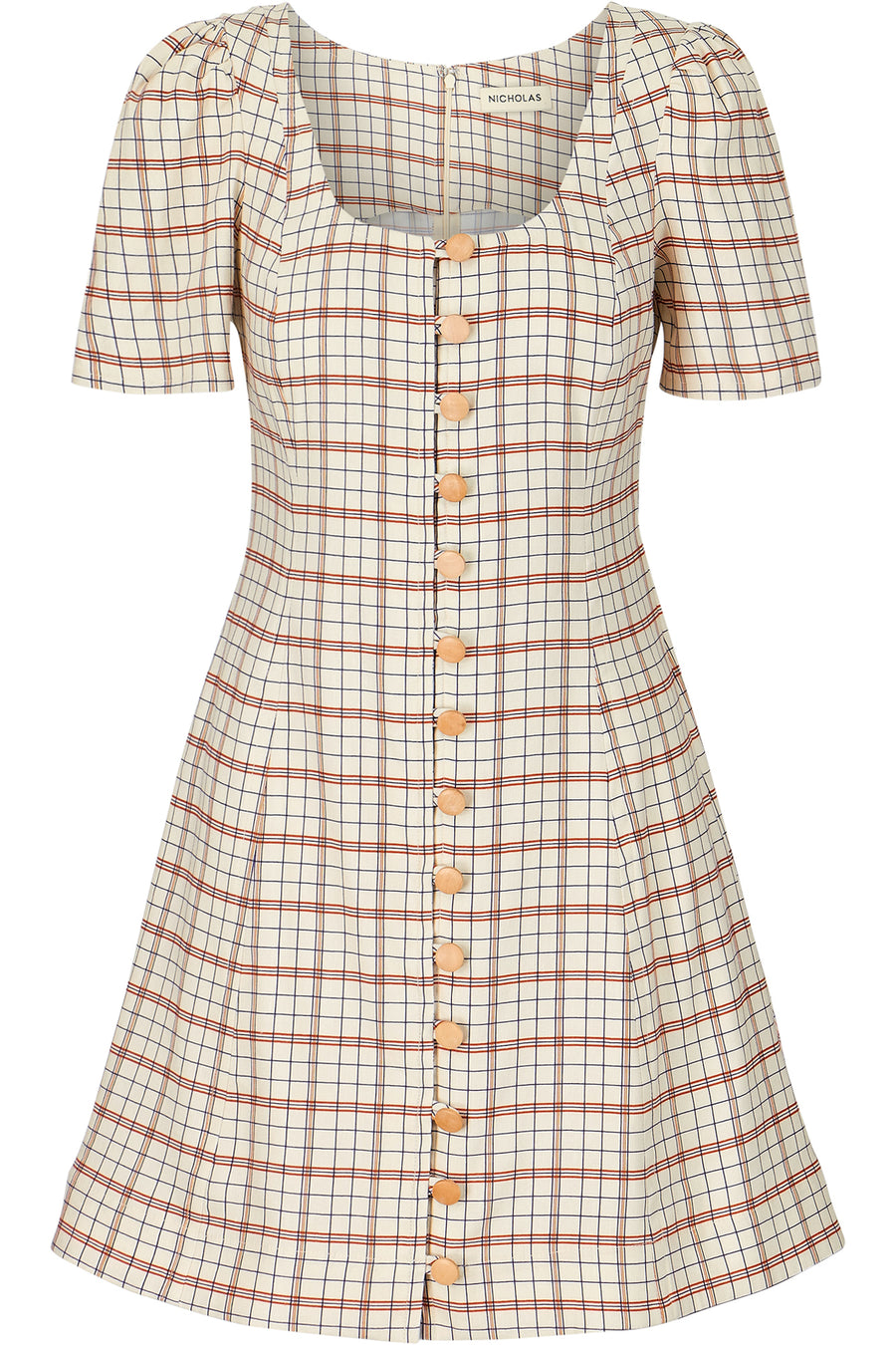 Button Front Skater Dress - Fawn Multi