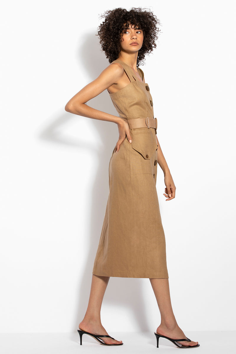 Button Up Midi Dress - Bronze