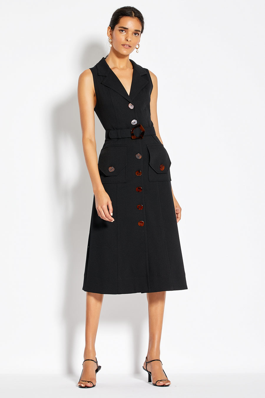 Button Up Midi Dress - Black