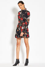 High Neck Ruffle Mini Dress - Garnet Multi