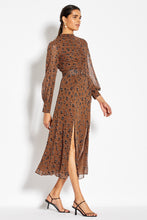 Gathered Front Tuck Dress - Light Tobacco Leopard