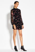Gathered Mini Dress - Mulberry Multi