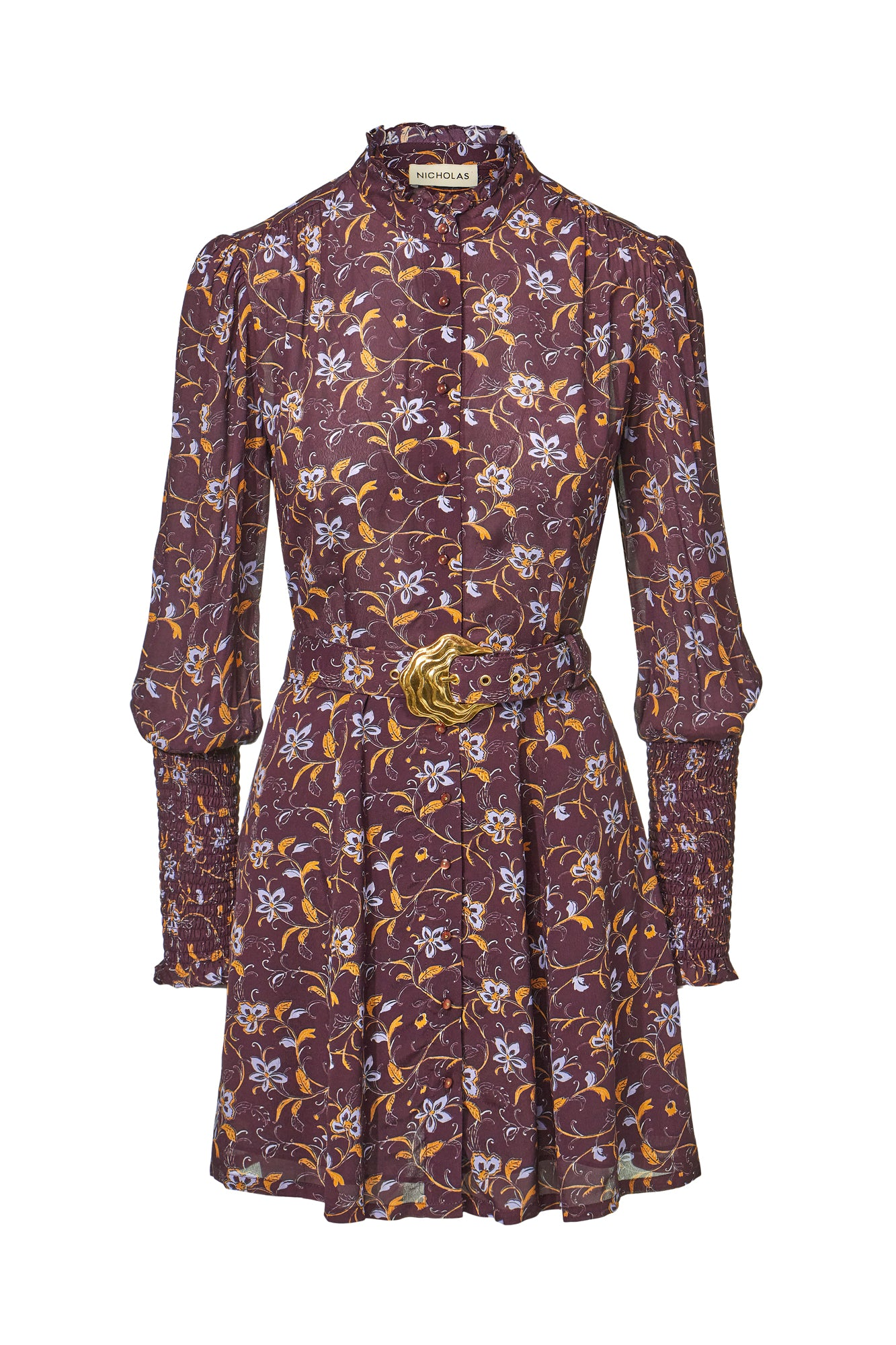 Agadir Dress - Swirling Jasmine Bordeaux