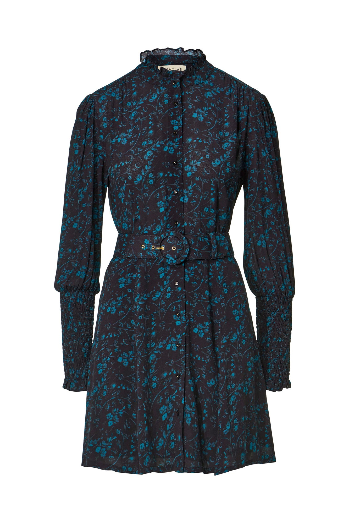 Agadir Dress - Watercolor Ditsy Floral Peacock