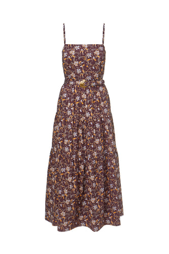 Kerala Dress - Swirling Jasmine Bordeaux