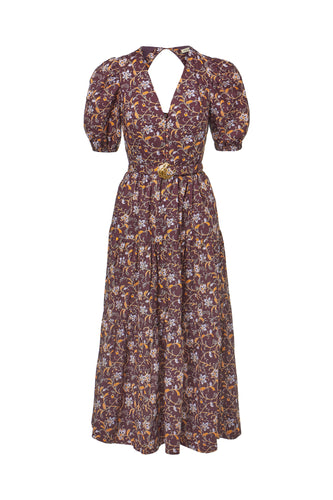Celie Dress - Swirling Jasmine Bordeaux