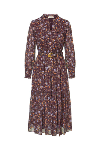 Dasha Dress - Swirling Jasmine Bordeaux