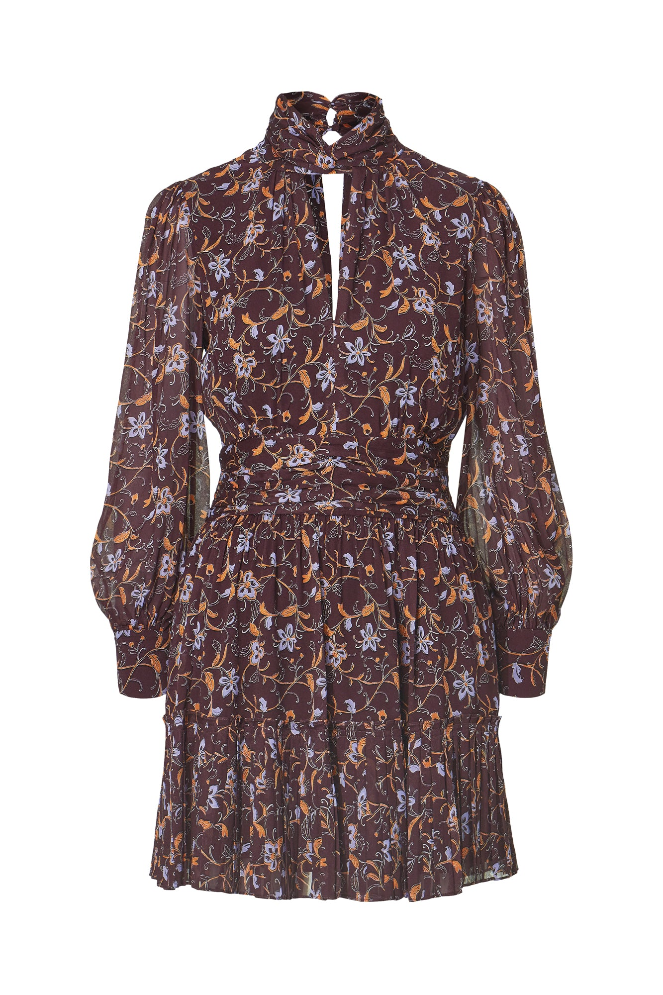 Gemma Dress - Swirling Jasmine Bordeaux