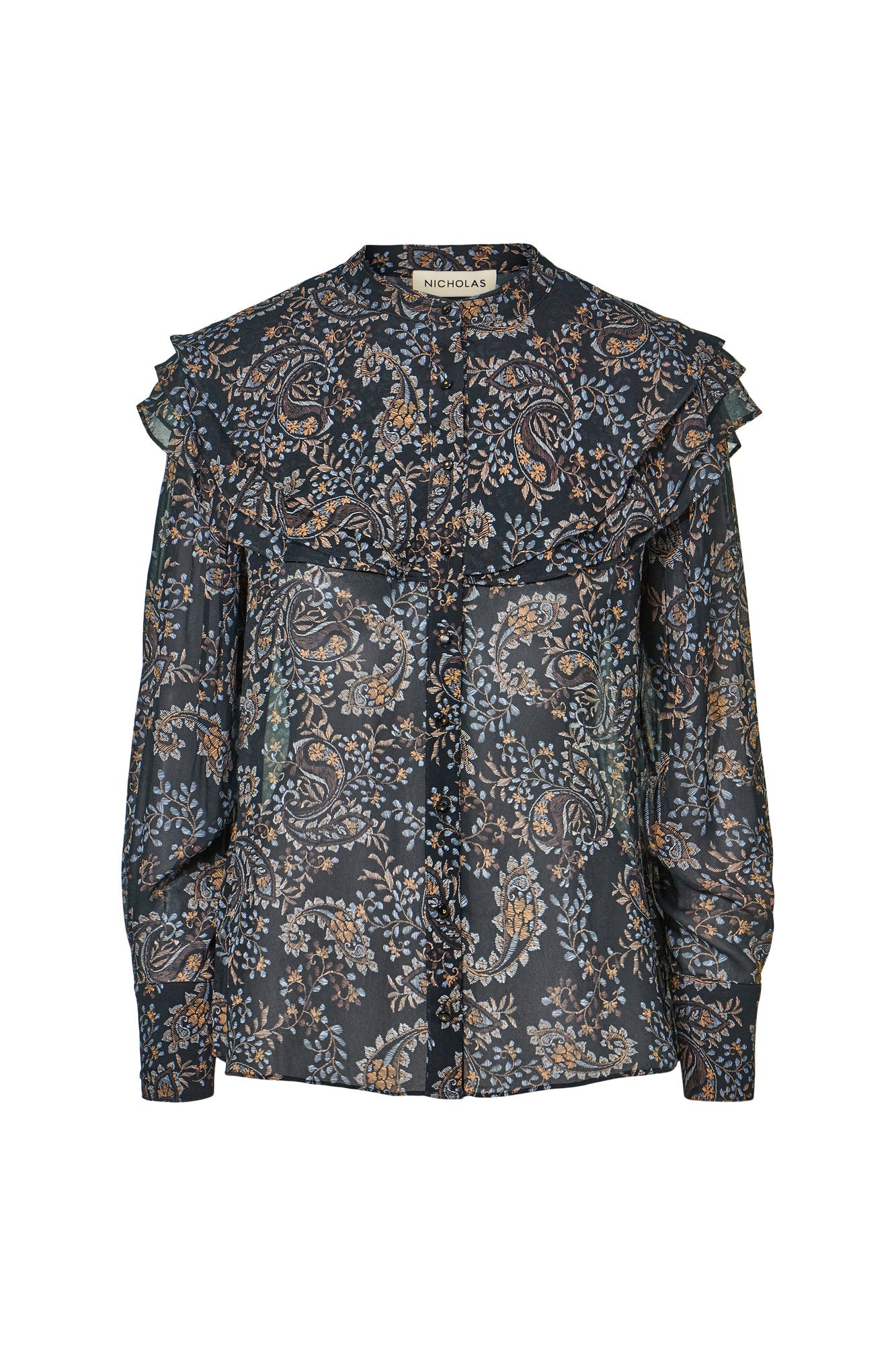 Galina Top - Etched Paisley Black