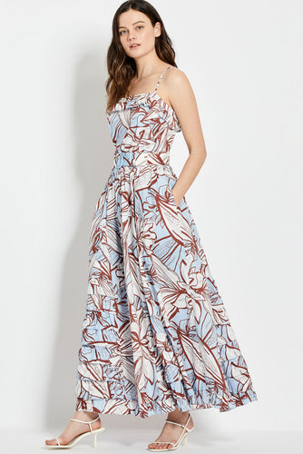 Julie Dress - Mocha Etched Floral