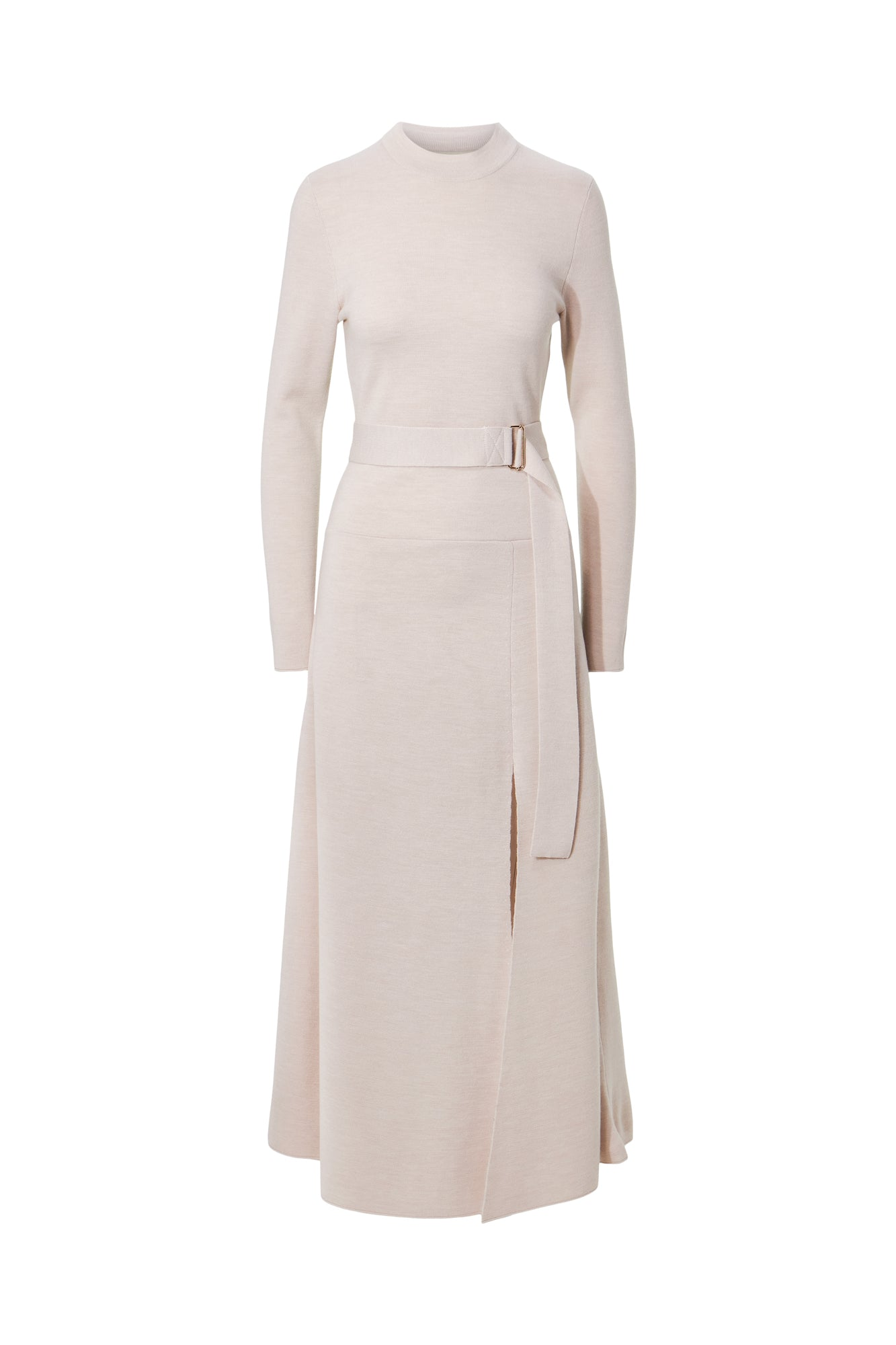 Mock Neck Long Sleeve Dress - Winter White