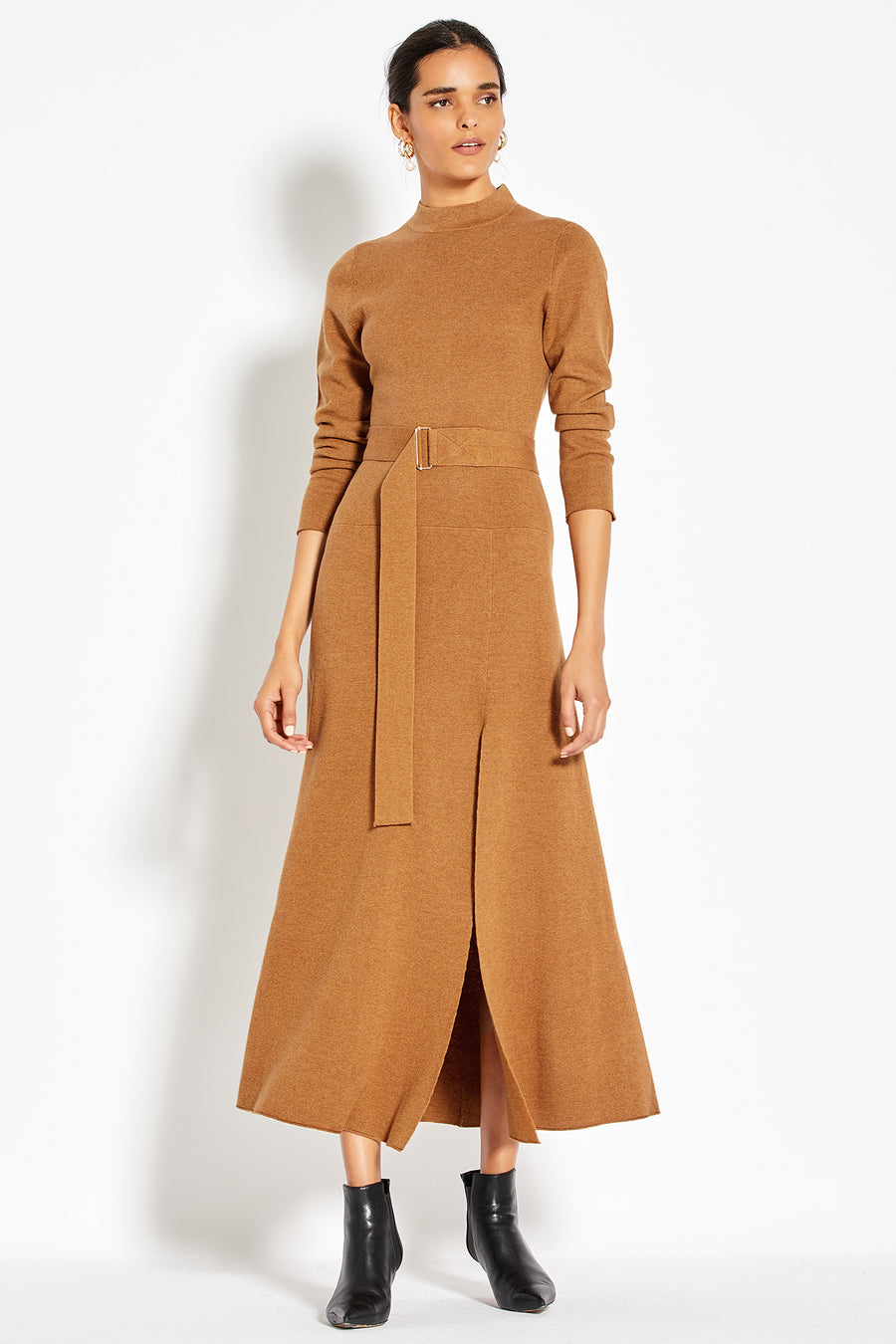 Mock Neck Long Sleeve Dress - Tobacco
