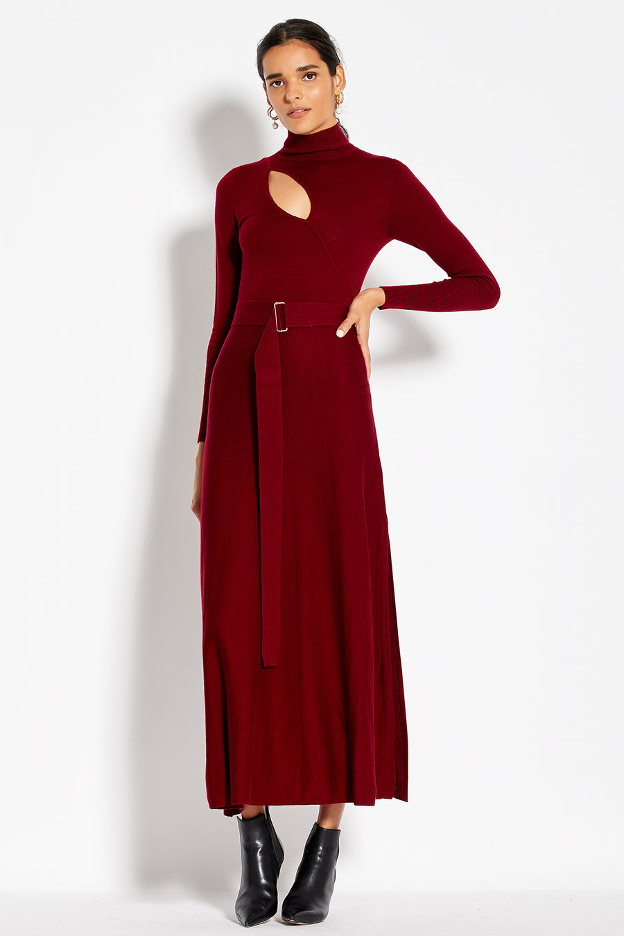Cross Over Cut Out Dress - Merlot