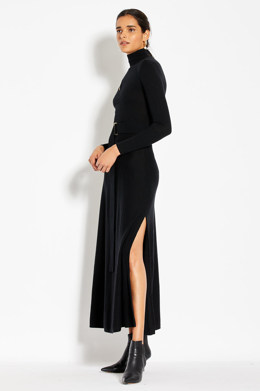 Cross Over Cut Out Dress - Black