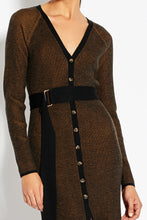 Rib Cardigan Dress - Black Multi