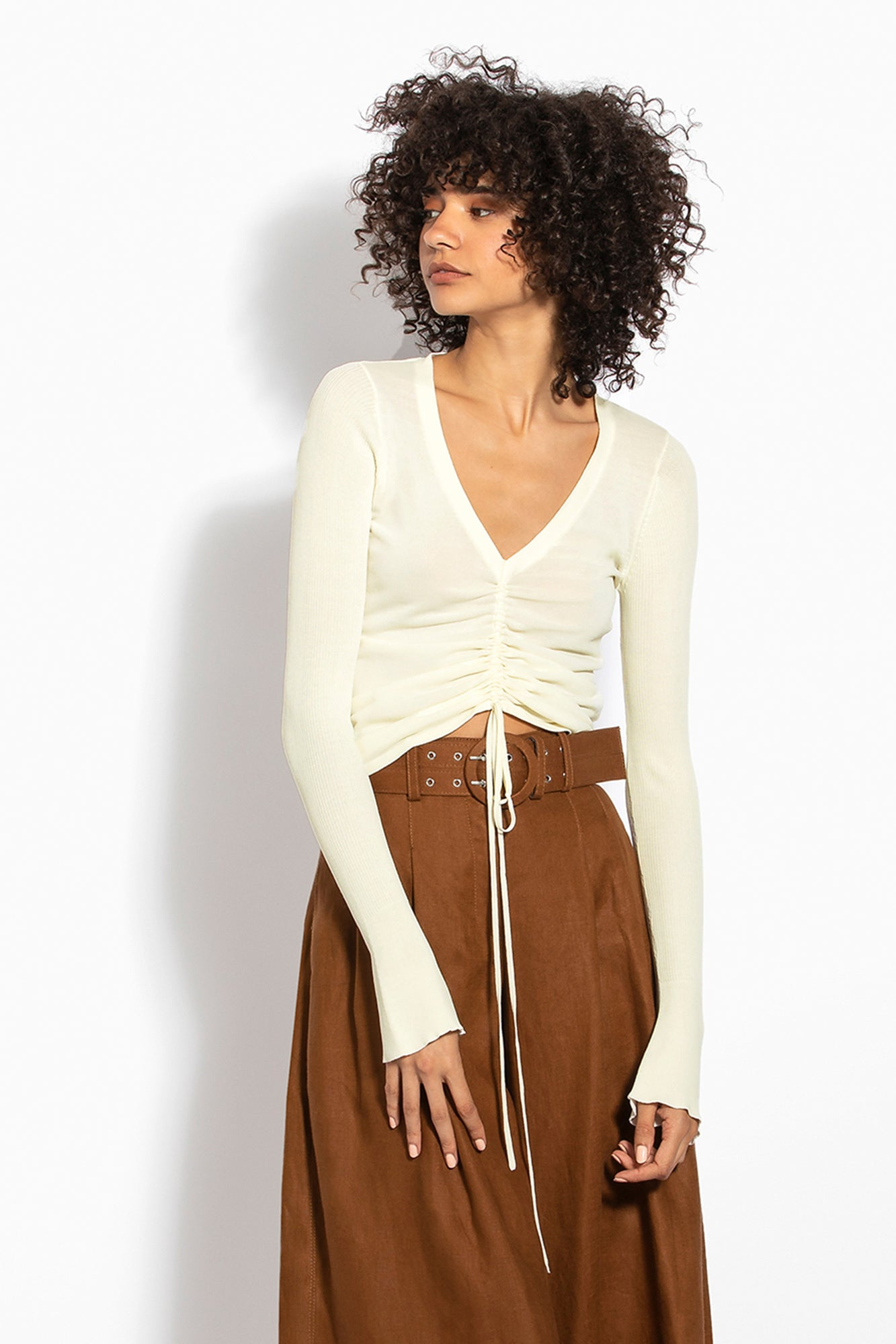 Compact Ruch Front Tie Top - Off White