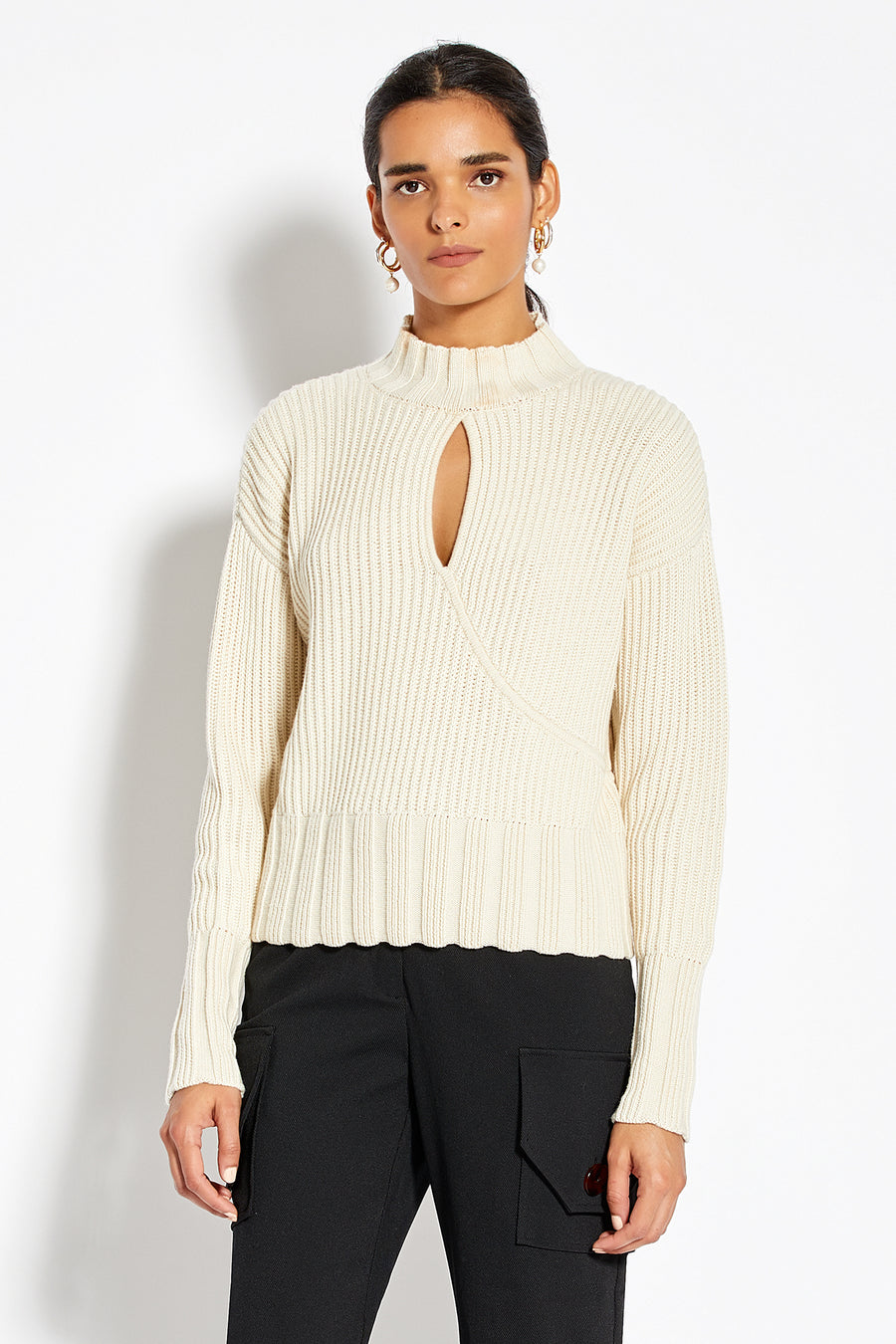 Cross Over Oversized Sweater - Winter White