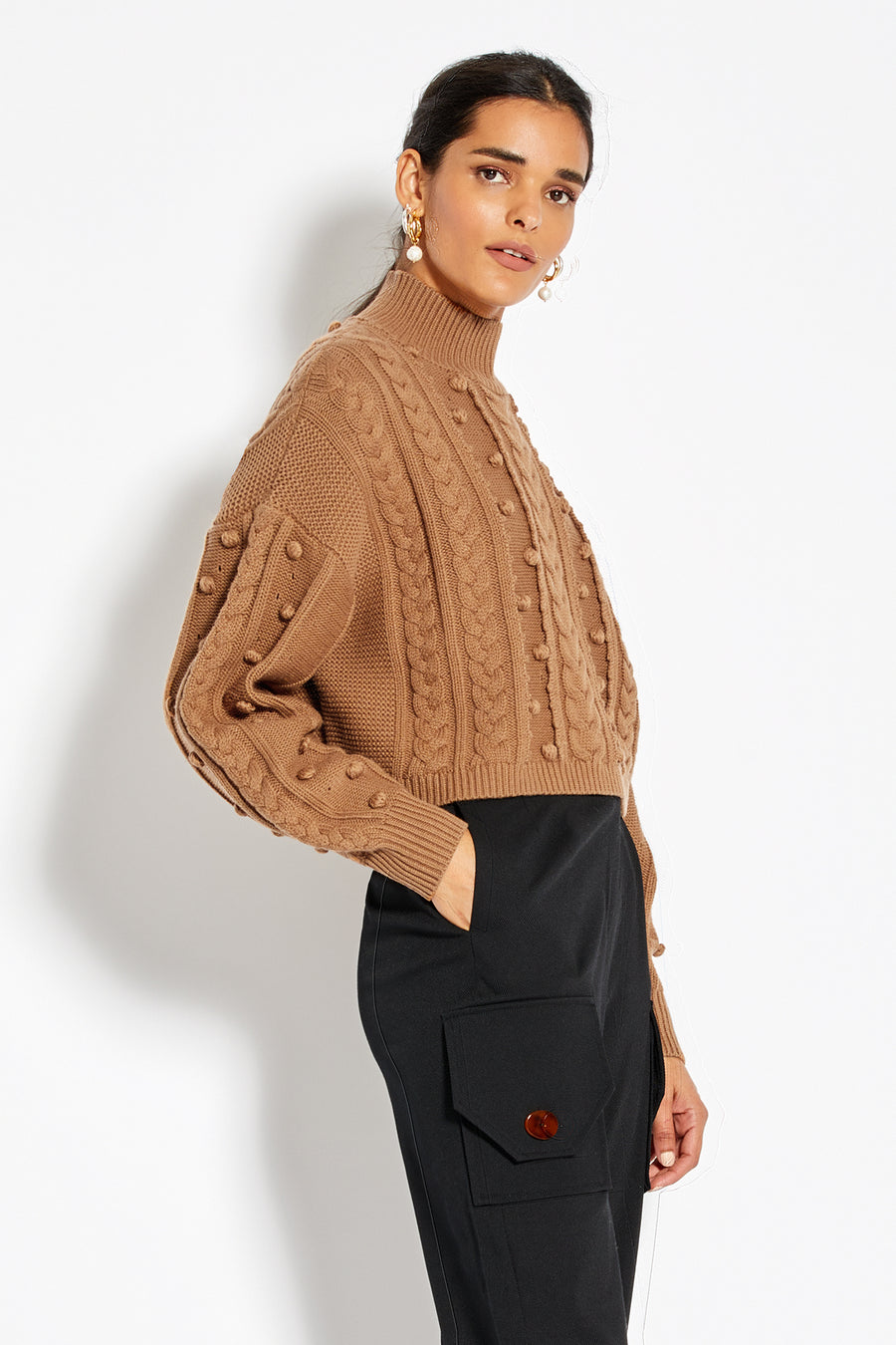 Crop Cozy Sweater - Tobacco