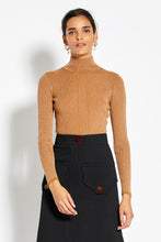 Metallic Rib Turtleneck - Tobacco Metallic