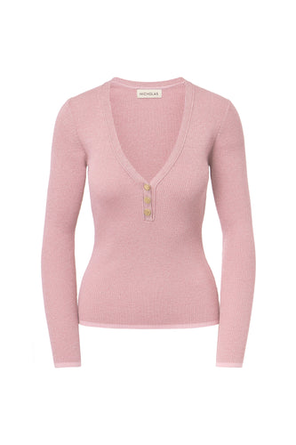 Metallic Rib Henley - Blush Metallic