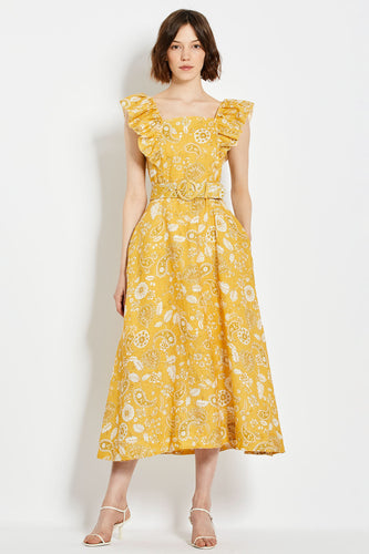 Kelly Dress - Custard 60's Tonal Paisley