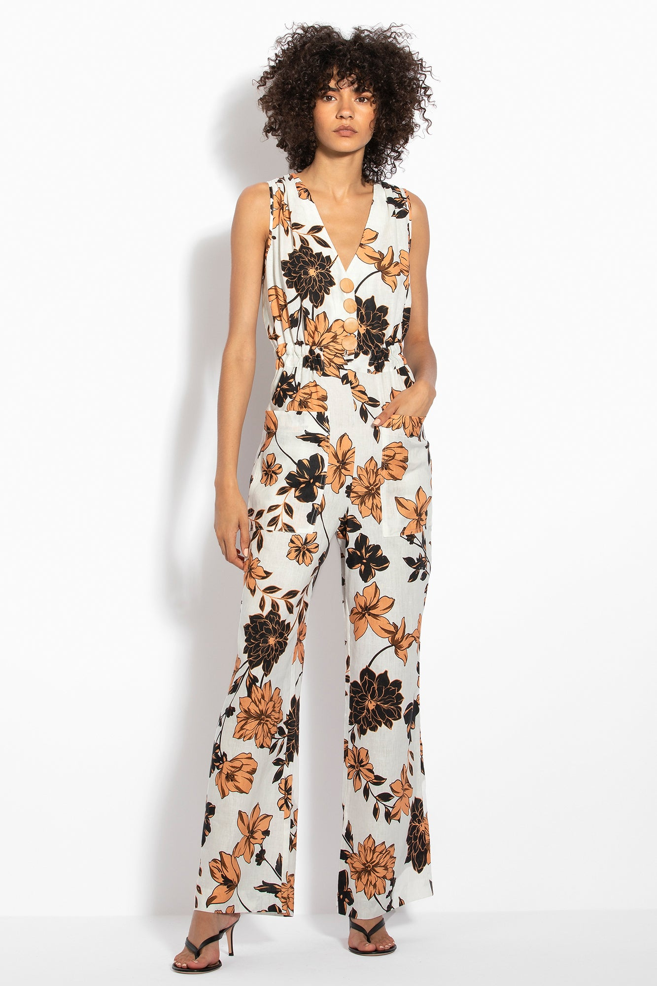 Button Jumpsuit - Sepia Multi