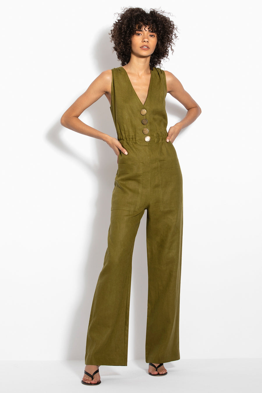 Button Jumpsuit - Olive