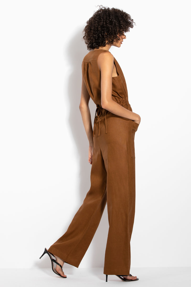 Button Jumpsuit - Tan