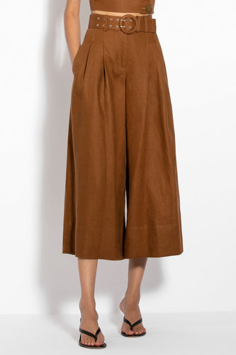 Belted Wide Leg Pant - Tan