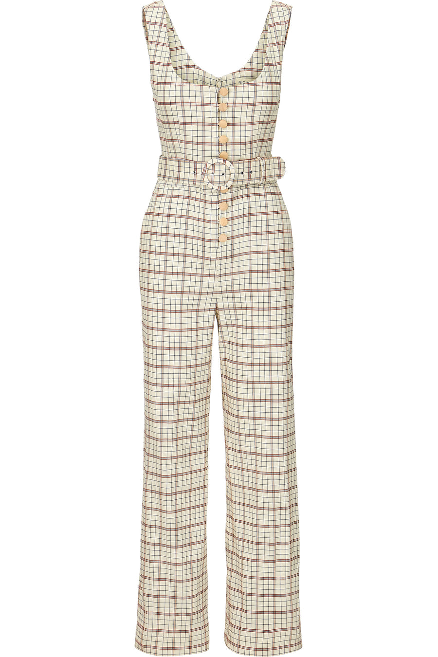 Button Front Jumpsuit - Fawn Multi