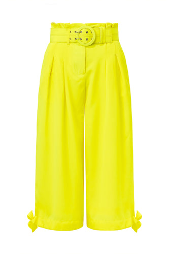 Side Tie Pant - Fluorescent Lime