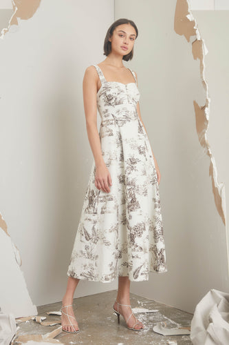 Kiki Dress - Cacao Ivory Toile Print