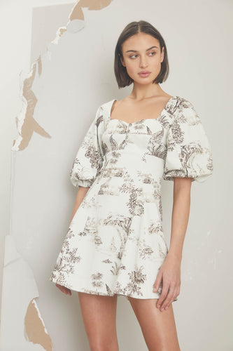 Lydia Dress - Cacao Ivory Toile Print