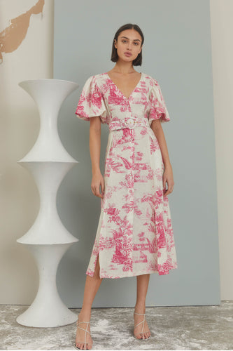Troy Dress - Canister Ivory Toile Print