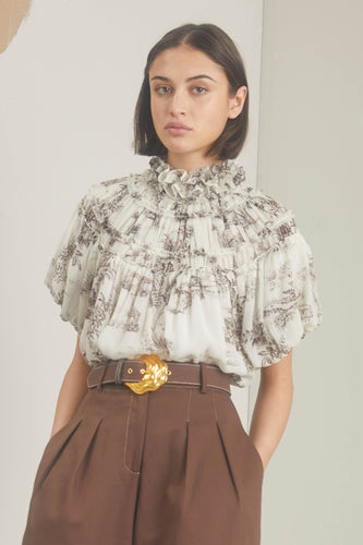 Jeanne Top - Cacao Ivory Toile Print