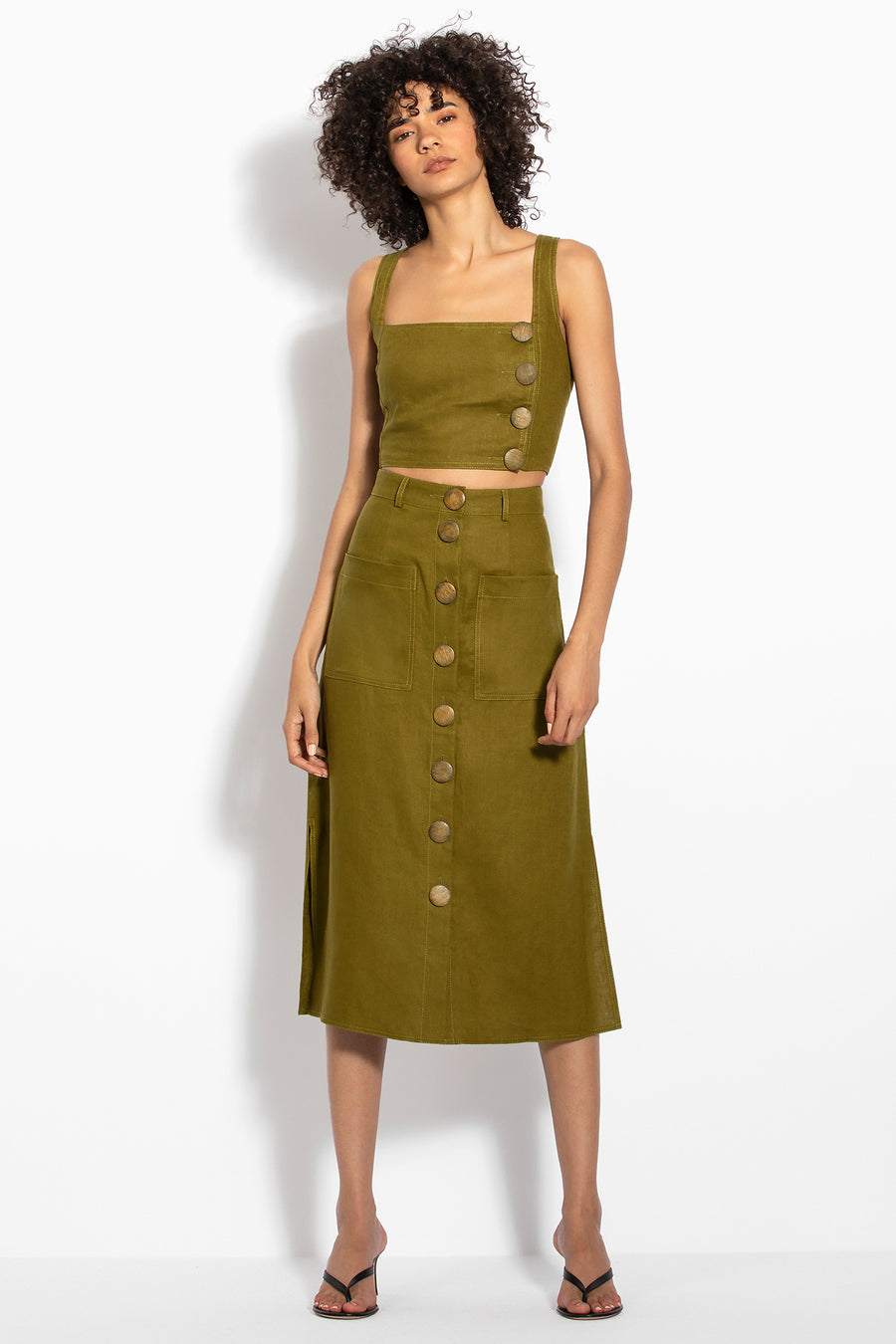 Button Front Skirt - Olive