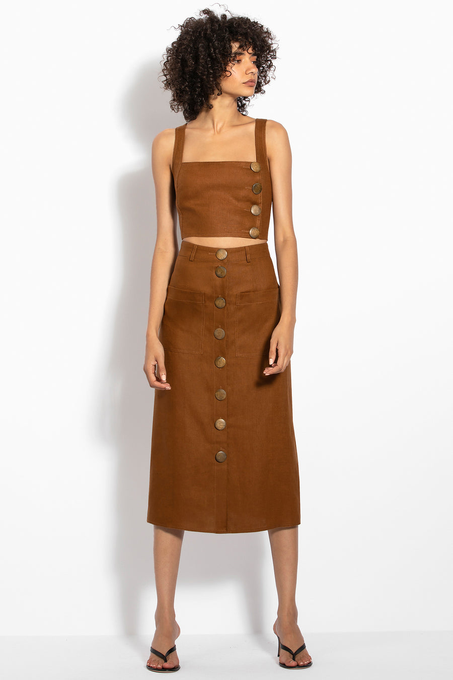Button Front Skirt - Tan