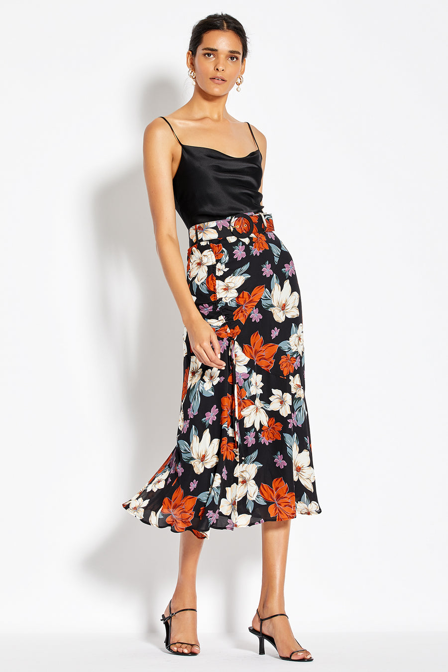 Side Gathered Skirt - Rust Multi