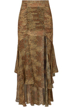 Tuck Front Skirt - Tan Multi
