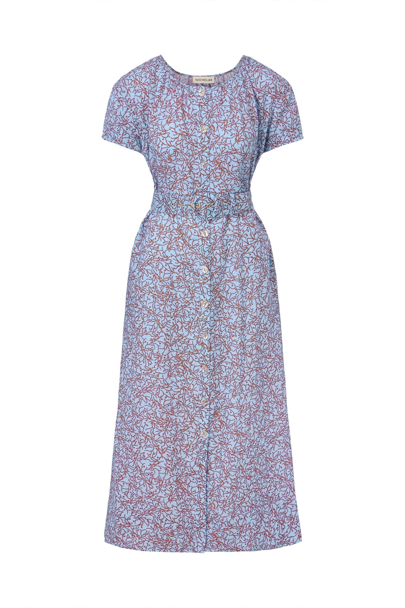 Debra Dress - Slate Blue Thyme Print