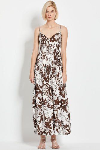 Susan Dress - Mocha Two Tone Floral