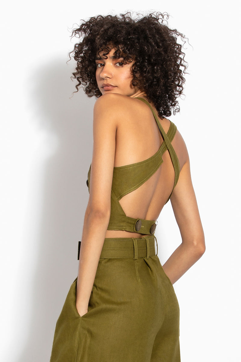 Pinafore Top - Olive